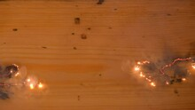 A Physical Experiment With Electricity. Two Current Lines Connect In The Middle In The Form Of Lightning And Explode. Lichtenberg Figures. Wood Engravings.