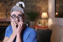 Distrustful Man Wearing Weird Tinfoil Hat