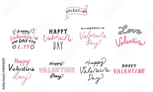 Fotografie, Obraz 手書きのバレンタイン用メッセージロゴセット Happy Valentines day typography