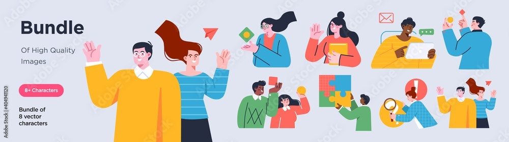 Fototapeta Business Concept illustrations. Collection of scenes with men and women taking part in business activities. Trendy style.