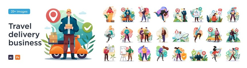 Business Travel, Delivery and social media illustrations. Mega set. Collection of scenes with men and women taking part in business activities. Trendy style