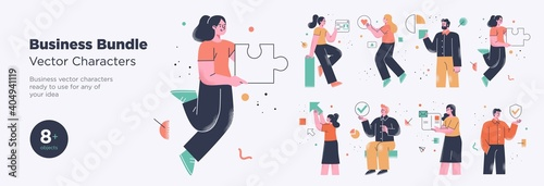 Obraz Business Concept illustrations. Collection of scenes with men and women taking part in business activities. Trendy style. - fototapety do salonu