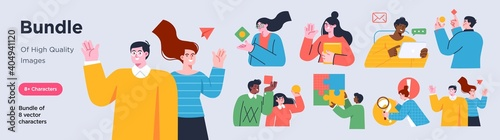 Business Concept illustrations. Collection of scenes with men and women taking part in business activities. Trendy style.