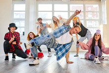 Young People Repeating A Performance, Hip-hop And Break Dance In Studio, Talented Youth, Man In Stylish Clothes Show His Abilities