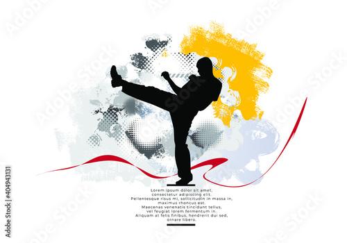 Fototapeta Young male karate warrior. Healthy lifestyle. Martial arts. Vector obraz