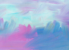 Abstract Pastel Background. Hand Drawn Oil Painting. Pink, Blue And White Brush Strokes Of Paint On Paper. Contemporary Art.