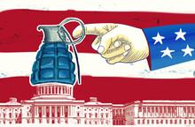 Concept Illustration Of Explode Democracy USA