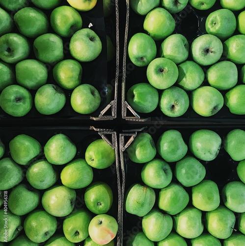 Full Frame Shot Of Granny Smith Apples In Market For Sale Poster Mural XXL