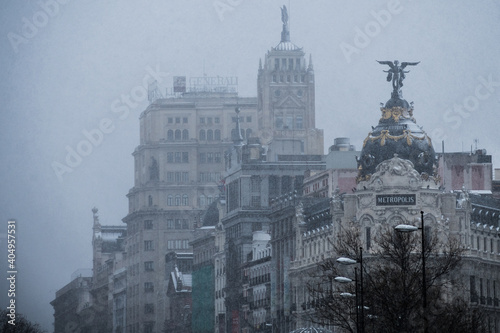 Cityscape of Madrid on a snowy day