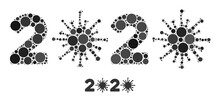 2020 Virus Year Collage Of Round Dots In Various Sizes And Color Tinges. Vector Round Dots Are Composed Into 2020 Virus Year Illustration. 2020 Virus Year Isolated On A White Background.