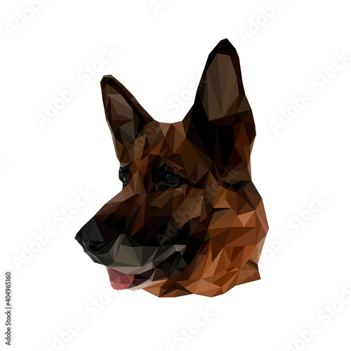 Vector illustration of a shepherd in the low poly style Wallpaper Mural