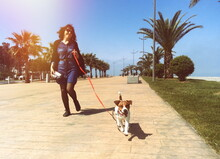 Full Length Of Woman With Dog Walking On Footpath In City During Sunny Day