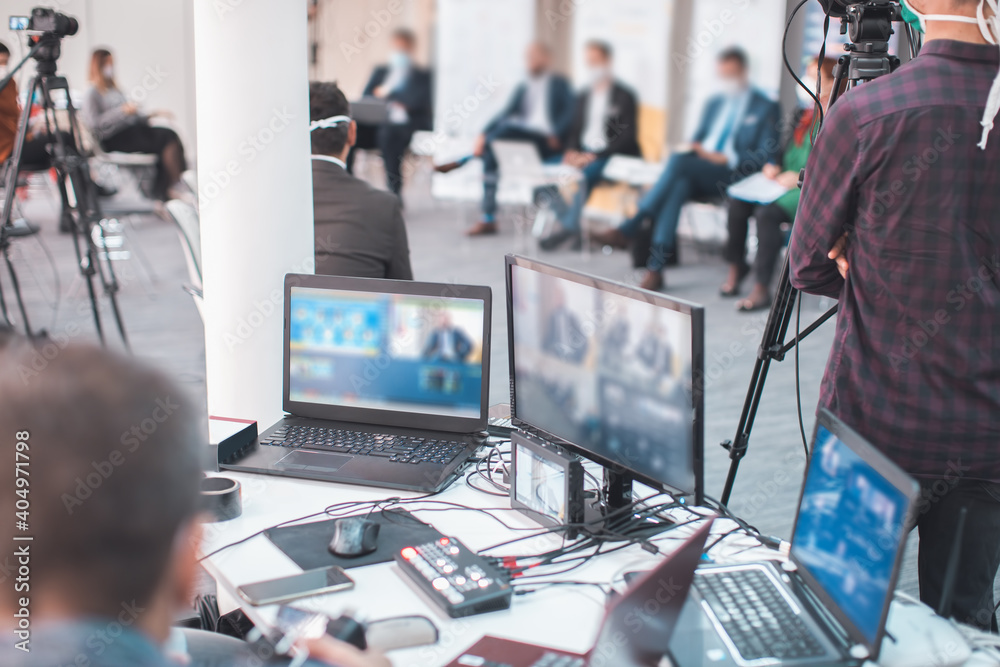 Fototapeta online business meeting streamed live