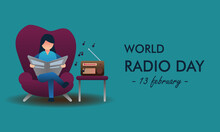 Vector Illustration Of World Radio Day, Woman Sitting And Reading A Newspaper While Listening To The Radio.
