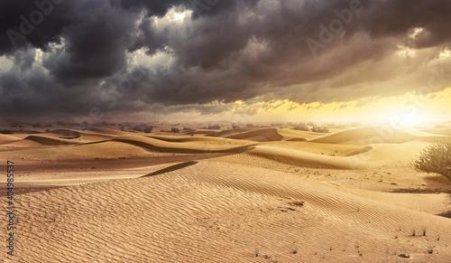 Fotografering Scenic View Of Desert Against Sky During Sunset