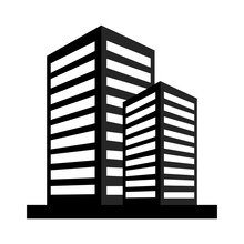 High Rise Office Building Icon, Silhouette Style