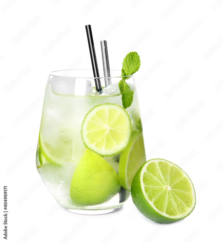 Fototapeta Glass of delicious mojito and lime on white background