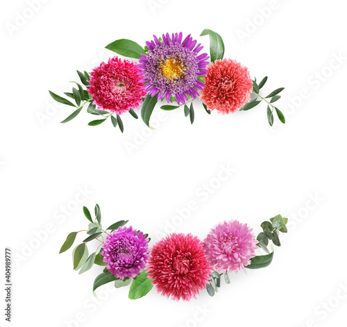 Obraz Wreaths made of beautiful flowers on white background - fototapety do salonu