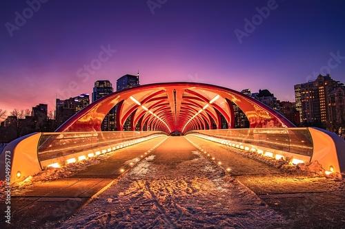 Canvas Peace Bridge Glowing At Night