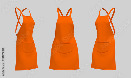 Fotografia Blank  aprons, apron mockup, clean apron, design presentation for print, 3d illu