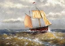 Oil Paintings Landscape, Fisherman, Ships, Sea Landscape, Sailing Boat On The Sea. Fine Art, Masterpiece.