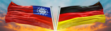 Double Flag Germany And Old Myanmar  Flag Waving Flag With Texture Sky Background