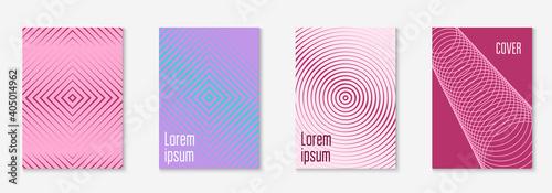Obraz Set brochure. Minimalistic mobile screen, booklet, wallpaper, notebook layout. Purple and turquoise. Set brochure as minimalist trendy cover. Line geometric element. - fototapety do salonu