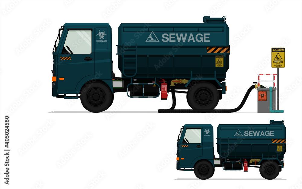 Fototapeta Isolated sewage truck on white background