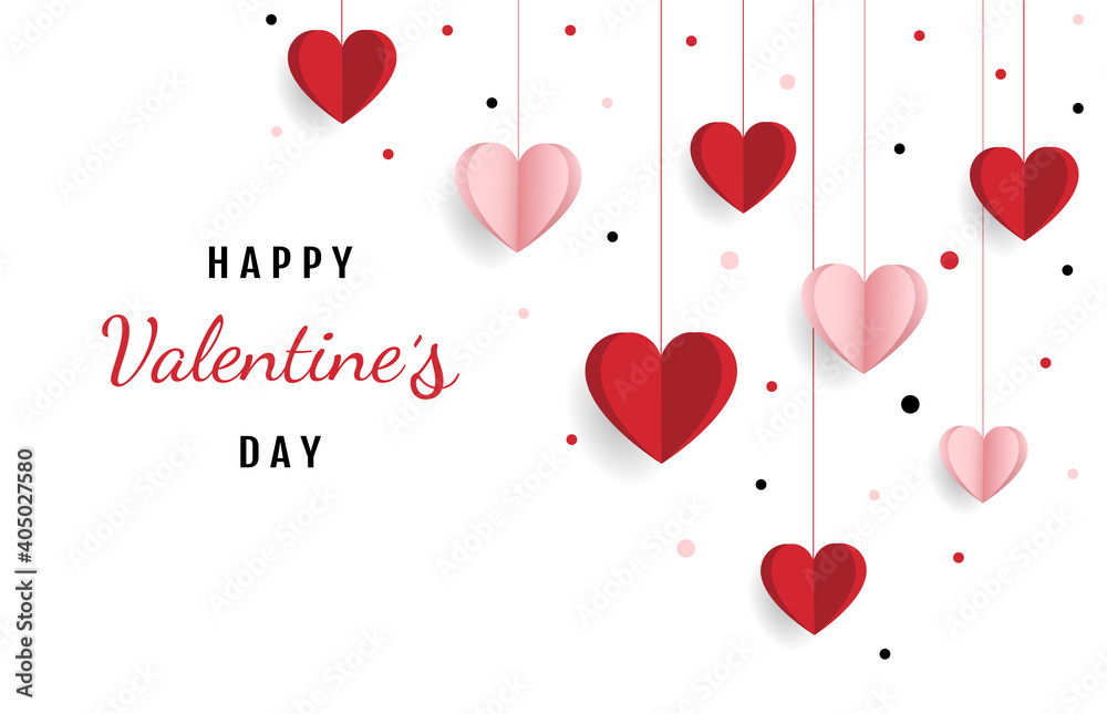 Fototapeta Happy valentine day. with creative love composition of the hearts. Vector illustration