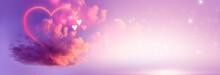 A Cloud Of Love. Futuristic Abstract Landscape, Sky, Purple, Pink And Orange Neon, Beautiful Pink Sunset, Heart Shape, Magic. Cloud Over Water, Heart Bokeh Light.