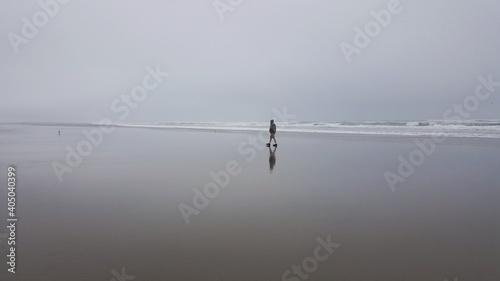 Obraz Distant View Of Man Walking At Beach Against Sky - fototapety do salonu