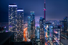 Tall Buildings Lit At Night