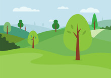 Nature Landscape Background Vector. Natural Green Hills And Sky Background.Meadow Scene With Trees.Green Park With Clouds.