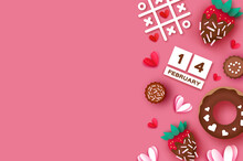 Strawberry And Chocolate. Valentines Day Greeting Card. Hearts Paper Cut Style. Sweet Dessert, Choco Candy. Happy Romantic Holidays. Space For Text. February 14. Tic-tac-toe Game.