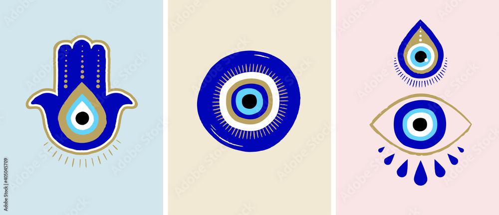 Fototapeta Evil eye or Turkish eye symbols and icons set. Modern amulet design and home decor idea