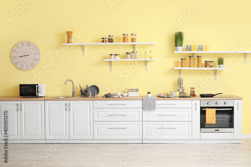 Fototapeta Interior of modern kitchen with shelves obraz