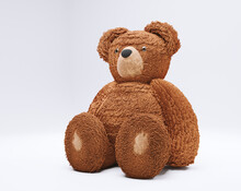 3D Rendering Object Isolited On The White. Brown Bear Cuddly Toy