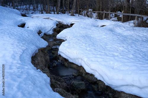 Holmstadbekken brook in winter, Toten, Norway. Fotobehang