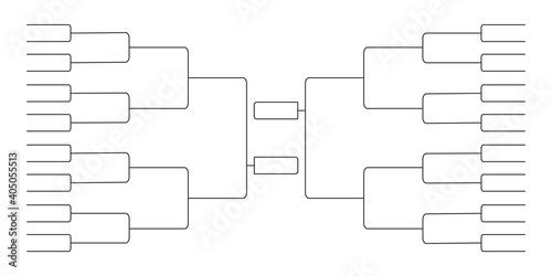 32 team tournament bracket championship template flat style design vector illustration isolated on white background Fotobehang