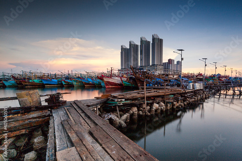 Panoramic View Of Pier And Buildings In City Against Sky