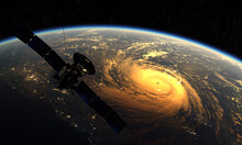 Meteorological Satellite Flying Over A Tropical Cyclone