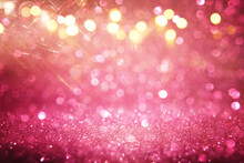 Purple And Pink Glitter Vintage Lights Background. Defocused
