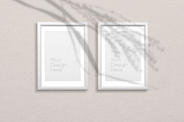 Photo frame mockup on grey background with shadow overlay