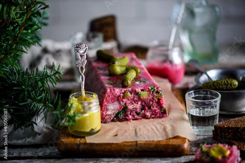 Fototapeta Pork, beetroot, and horseradish terrine.style rustic.