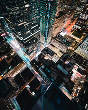 City With High-rise Buildings At Night Time