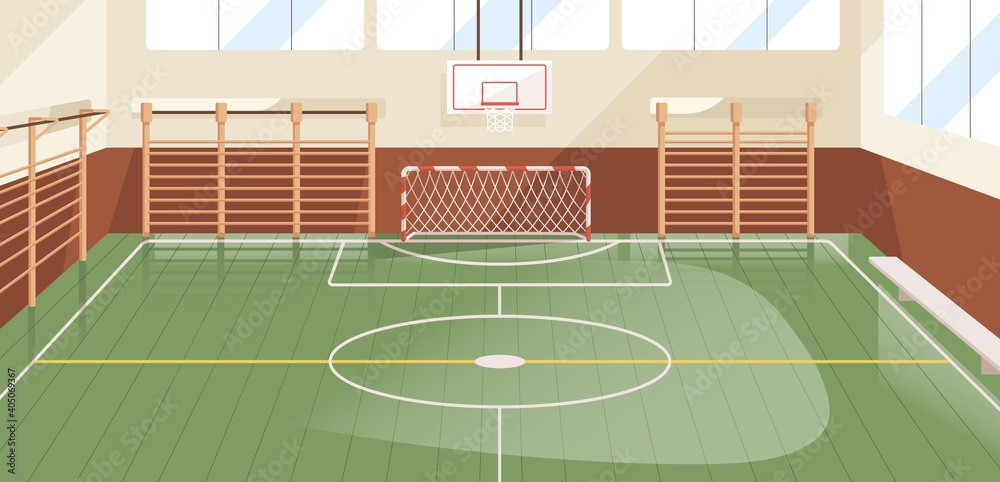 Obraz Interior of school gym equipped with basketball hoop, goal and wall bars. Indoor sports hall or court with equipment for playing soccer, football and handball. Colored flat vector illustration fototapeta, plakat