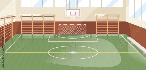Fototapeta Interior of school gym equipped with basketball hoop, goal and wall bars. Indoor sports hall or court with equipment for playing soccer, football and handball. Colored flat vector illustration obraz