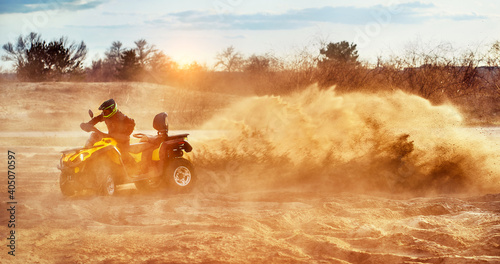 Cross-country quad bike race, extreme sports Poster Mural XXL