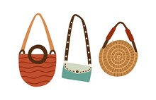 Set Of Modern Fashion Women Bags. Handbag, Round Straw Purse And Clutch With Shoulder Belt. Collection Of Stylish Female Accessories. Colored Flat Vector Illustration Isolated On White Background