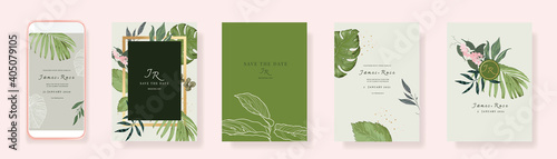 Papel de parede Green Luxury Wedding Invitation set,  invite thank you, rsvp modern card Design